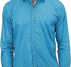 UNIXX Men's Casual Shirt (UXXS-16_Blue_42)