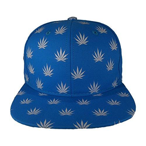Cap2Shoes-Mens-Marijuana-Weed-Leaf-Snapback-One-Size-Blue