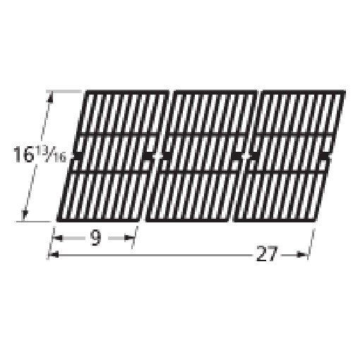 Music City Metals 69563 Gloss Cast Iron Cooking Grid Replacement for Select Charbroil Gas Grill Models, Set of 3