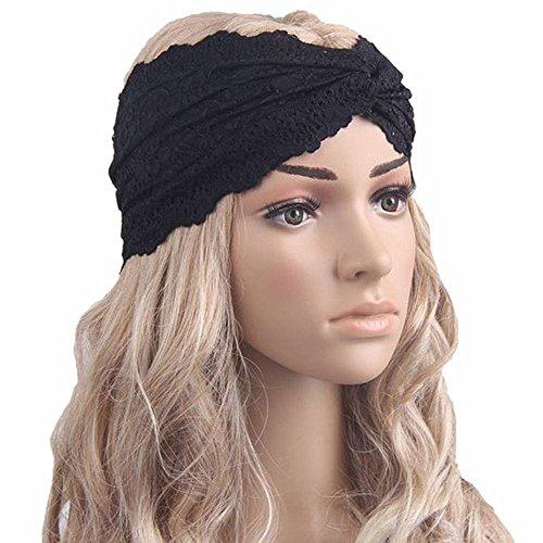 Bolayu Fashion Women Lace Headband Headwear Twist Sport Yoga Turban Headscarf Wrap (Black)
