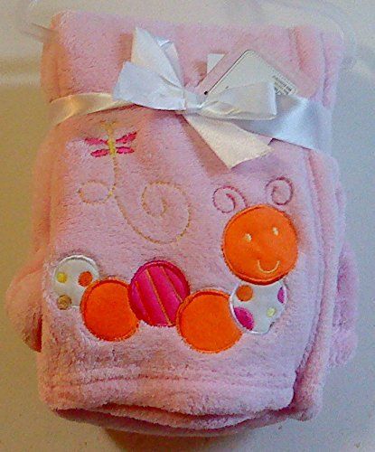 Snugly Baby Embroidered Girl Blanket Pink Worm - 1