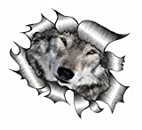 Ripped Torn Metal Wolf Vinyl Sticker