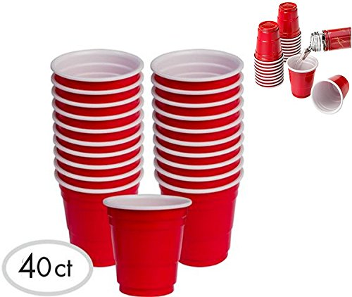 JFullerton Mini Solo Cup 40 2oz Mini Red Plastic Shot Glasses Drinkware Redneck Party Cups