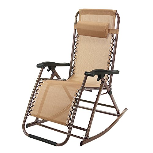 Zero Gravity Rocking Chair Outdoor Recliner Infinity Tan Lounge Patio Camping