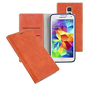 Note Edge Soft Leather Wallet Case, Samsung Galaxy NoteEdge Diary Flip Cover - ID, Card, Cash Slot (Orange)