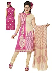 Ritu Creation Women's New Silk Stitched Chudidar Suit With Front Cut And Front&Back Embroided Work(Pink)