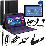 BIRUGEAR 11 Items Essential Accessories Bundle kit for Microsoft Surface Pro 2 (2013) - 10.6 Surface With Windows 8.1 Pro Tablet ( Black Keyboard Portfolio Stand Case Cover included )