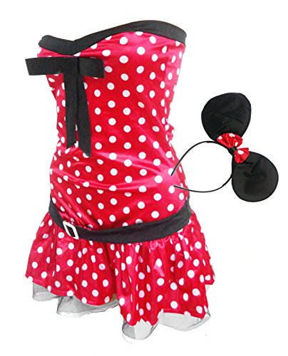 BSLINGERIE® Women Red Minnie Mouse Halloween Costume Dress