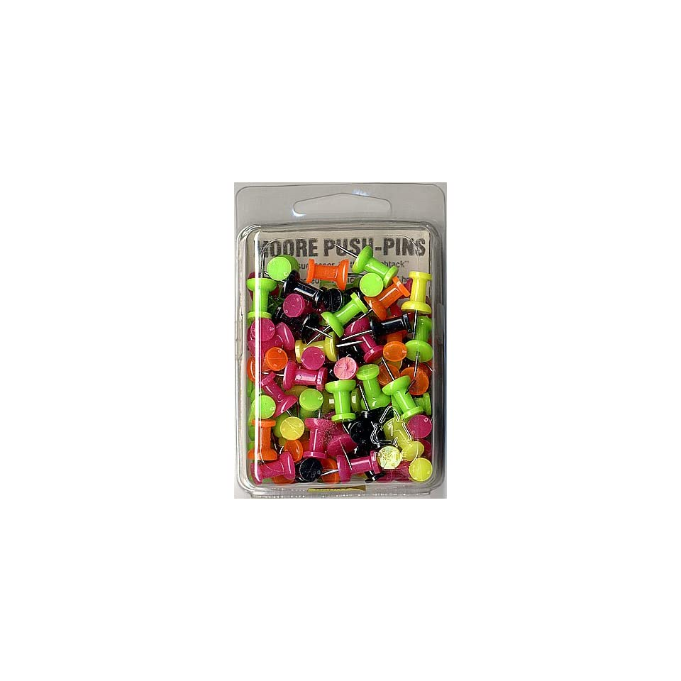 Moore Push Pins assorted day glo plastic box of 100