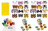 Animal Theme Party Set for 24: 24 Foam Animal Masks, 24 Zoo Animal Stampers, 2 Rolls of 100 Zoo Animal Stickers & 24 Bright Yellow Favor Bags