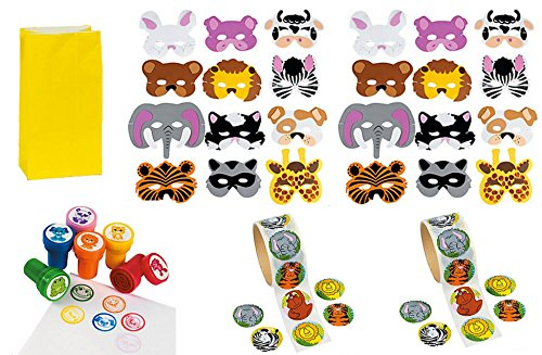 Animal Theme Party Set For 24: 24 Foam Animal Masks, 24 Zoo Animal Stampers, 2 Rolls Of 100 Zoo Animal Stickers & 24 Bright Yellow Favor Bags front-1063096