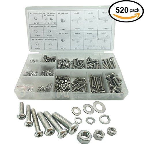 520PCS Stainless Steel Metric Pan Head Philips Machine Bolts Nuts with Lock and Flat Washers Kit (Nut Bolt Storage compare prices)