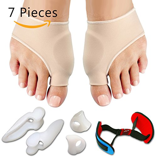 Bunion Relief & Bunion Corrector Protector Sleeves Kit - Treat Pain in Hallux Valgus, Tailors Bunion, Big Toe straightener, Hammer Toe, Toe Separator Spacers bunion Splint Aid Surgery Treatment Night (Perfect Fit Shoe Inserts compare prices)