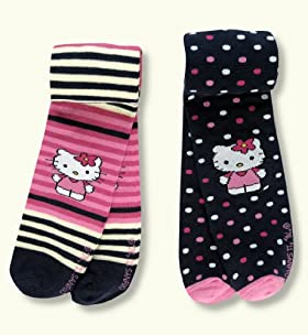 2 Pairs of Younger Girls&#39; Assorted Hello Kitty Tights