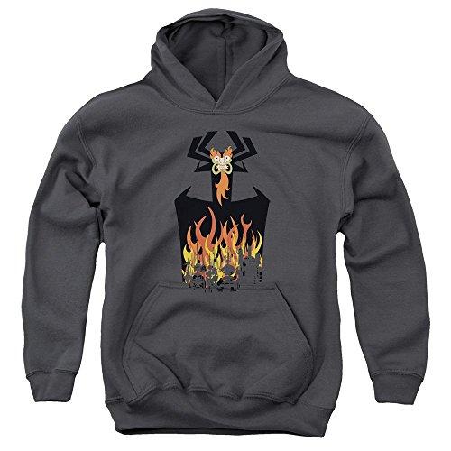 Samurai Jack, Youth World-In Flames-Felpa con cappuccio Nero  grigio