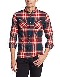 Superdry Men's Casual Shirt(5054265722356_M40001EN_S_Uprising Navy Check)