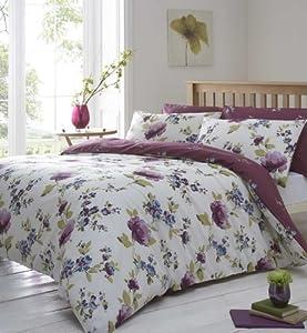 Plum Amp Cream King Size Floral Duvet Cover Reversible