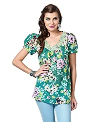 LOVE FROM INDIA - FLORAL PRINTED TUNIC_365_GREEN_M