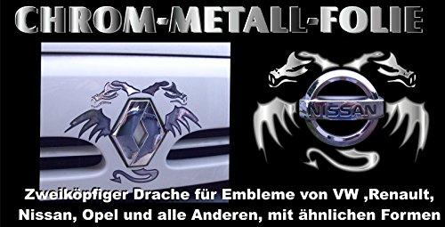 3 D Chrom Emblem Sticker Drachen VW Mercedes Nissan BMW OPEL Renault u. Ähnliche