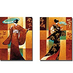 Misaki & Sakura by Keith Mallett 2-pc Premium Gallery-Wrapped Canvas Giclee Art Set (Ready-to-Hang)