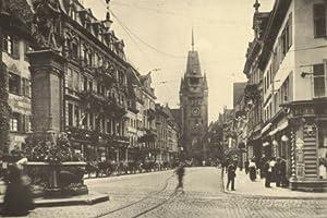 Freiburg i.Br., Kaiserstraße, Bertholdsbrunnen, Martinstor - 1913 - Reproduktion einer alten Ansichtskarte - Großformat 20x30 cm