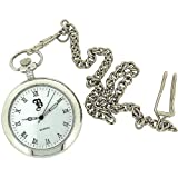 BOXX Silver Open Roman Pocket Watch 12 Chain M5095