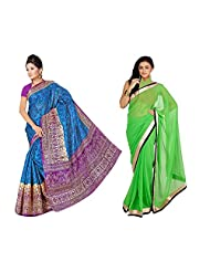 Somya Combo Of 2 Sarees : Printed Bhagalpuri Silk Saree And Faux Chiffon Saree