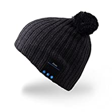 buy Mydeal Wireless Bluetooth Beanie Pom Pom Hat Music Knitted Cap With Headphone Headset Earphone Stereo Speakers And Mic Hands Free For Outdoor Sport,Compatible With Iphone Android Cell Phones - Black
