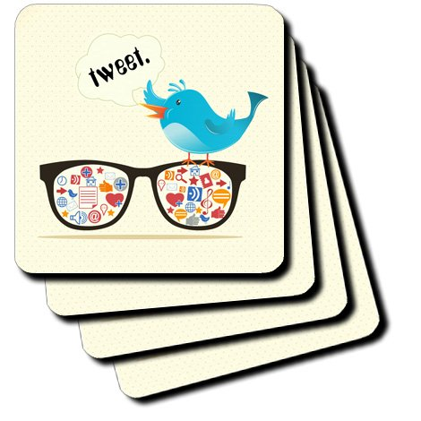 3dRose cst_104484_1 Geek Social Media Sunglasses with Icons and Twitter Bird-Soft Coasters, Set of 4