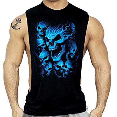 Blue Skulls Muscle Workout T-Shirt Bodybuilding Black Tank Top