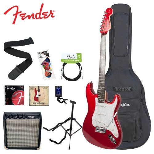 Squier By Fender Red Electric Guitar With Stand Strap, Strings, Gig Bag, Tuner, Pick Sampler, Cable And Amp
