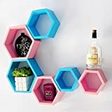 Onlineshoppee Fancy 6 Pcs Hexagonal Wooden Wall Shelf Big Size (10.5 x 10.5 x 4) inch Color-Pink/Skyblue