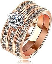 Comprar AnaZoz joyería 18 K plateado mujeres anillos de oro rosa junta Austria cristal anillo Ladies confíes anillo Hochzeit eheringe