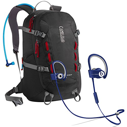 Beats By Dr. Dre Powerbeats 2.0 Wireless Blue In-Ear Headphones Biking Bundle With Camelbak Rim Runner 22 Charcoal/Chili Pepper 100 Oz Hydration Pack
