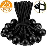 25PCS 6Inch Bungee cord (Multiple Bungee Cords with Balls) by ZOAN, Reusable Heavy-Duty, Black, Ideal for Projector Screen, Soccer Goals, Tarp, Childproofing, Canopy, Motor Homes, Camping (Color: black)