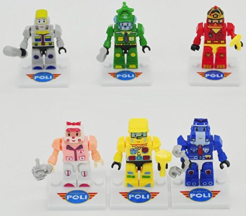 Robot Amber Roy Taxi Helly School Bus Minifigures 6pcs/lot Toys Set Girl Action Robot Figures Building