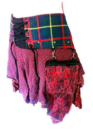 VERA tartan scozzese DESIGNER FUNKY KILT VAPORE PUNK Psytrance GONNA N1 rosso (piccola-media)