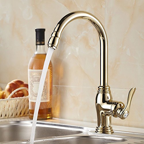 All copper and gold-plated taps zirconium/European kitchen vegetables basin faucet/Antique hot and cold sink faucet Caipen-A