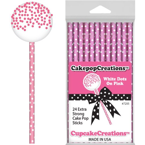 Pink with White Dots Cake Pop Sticks