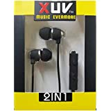 BassHeads XUV U-7 Perfect In-ear Seal Blocks Out External Noise In-Ear Metal Headset With Mic For All IPod, IPhone, IPad, Android Device, Mp3 Player, CD Player, Portable DVD Player, PSP, MD, Radio Or Laptop Computer - Black