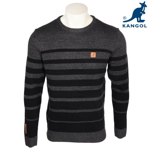 Kangol Men's Charcoal With Black Stripe Detail Knitted Jumper Size XLarge