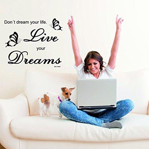 Green luup adesivo da parete con scritta don 't dream your life, live your dreams nero con farfalle
