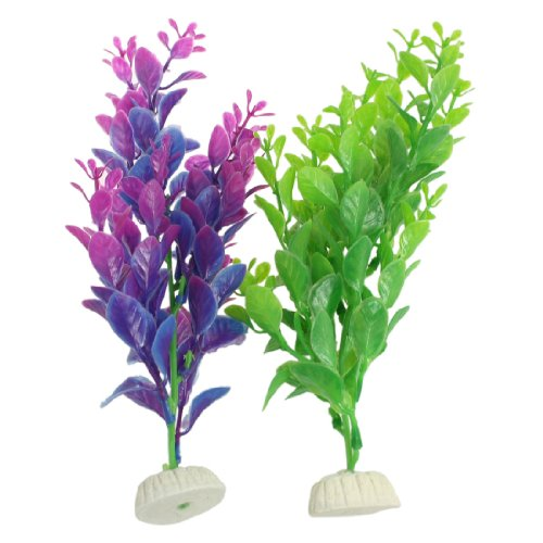 2 pcs artificial green purple aquatic plants aquascaping for Artificial fish pond plants