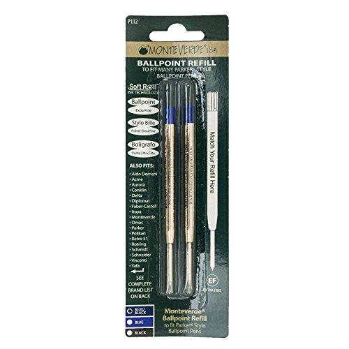2 x Monteverde Recharge bille Pointe aiguille BLEU compatible Parker®, Faber Castell®, Pelikan®, Montegrappa®