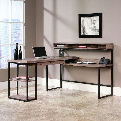 "Transit Lshaped Modern Computer Desk 61""W X 59""D Salt Oak Finish"