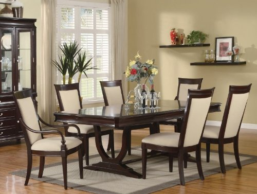 Buy Low Price Coaster 7pc Formal Dining Table Chairs Set Merlot