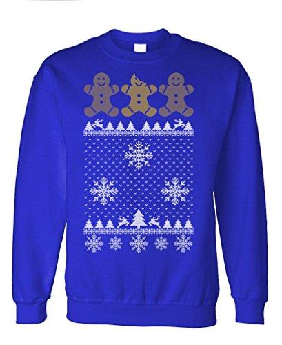 Ugly Christmas Gingerbread - Funny Xmas Fleece Sweatshirt, 3Xl, Royal