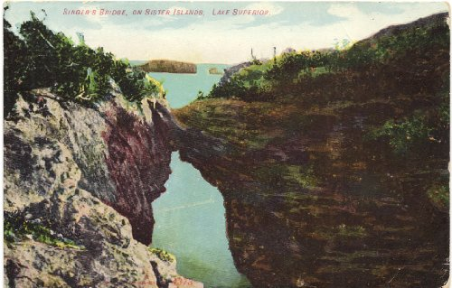 1910 Vintage Postcard Singer's Bridge on Sister