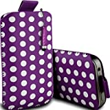 Mobile-Bits4u HTC DESIRE C Purple Polka Dot Design PU Leather Pull Tab Protective Pouch Case and High Capacity Mini Stylus Pen (M)