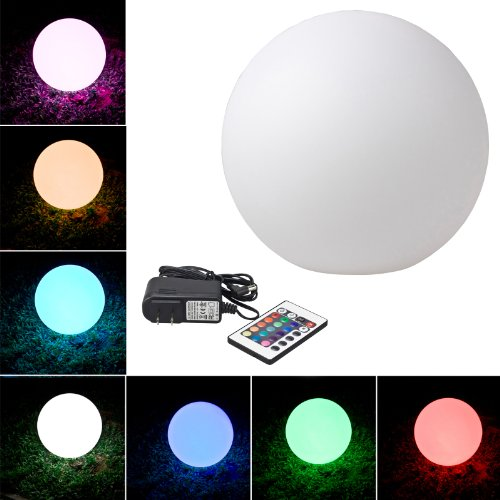 "Loftek® Outdoor/Indoor Rechargeable Led Light, Cordless With Rgb Colorful Changing Remote Control Changing. (Ball 8"")"